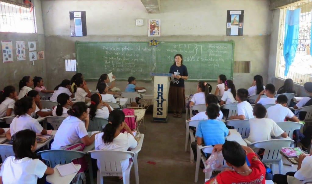 Rebecca in the classroom