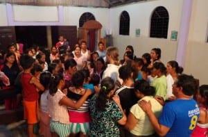 Prayer in the communities in Ecuador