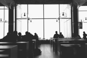 black-and-white-cafeteria-chat-52576