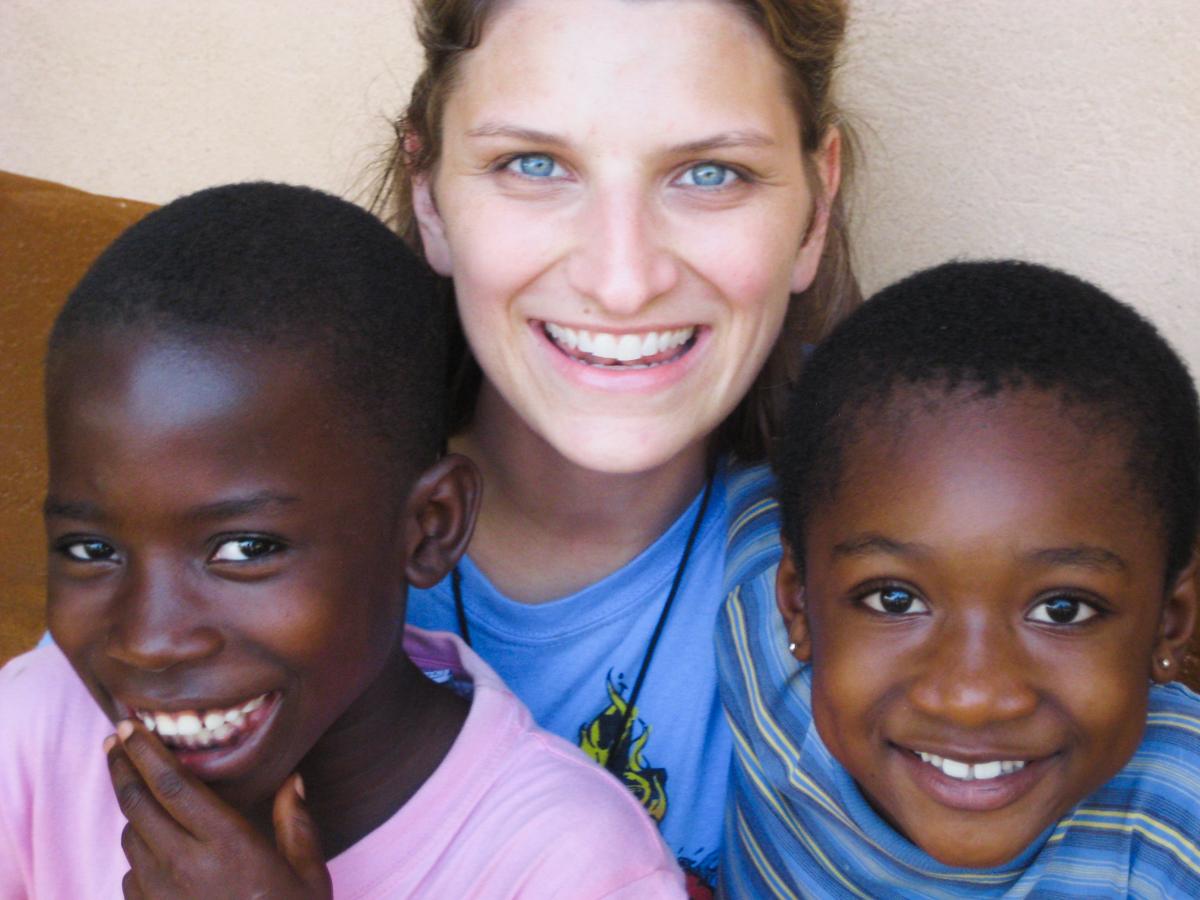 Bridget with kids in Ghanna